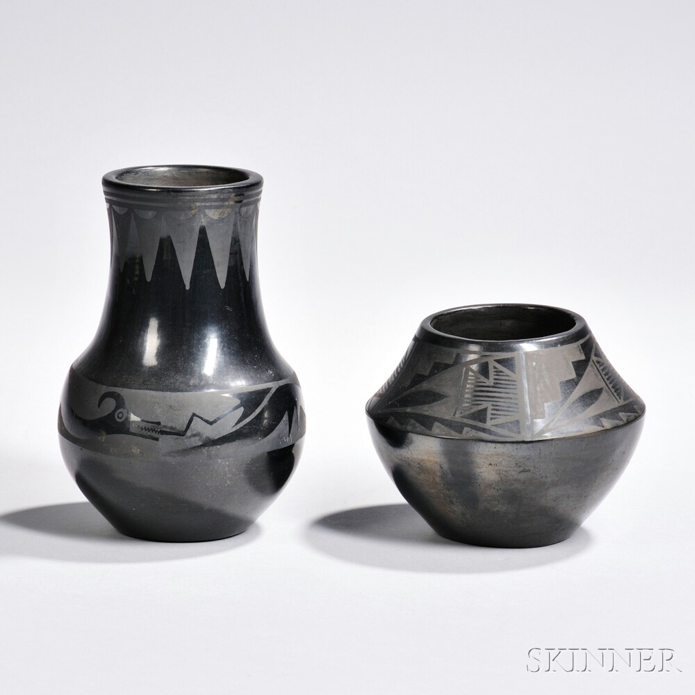 Two San Ildefonso Black-on-black Pottery Jars