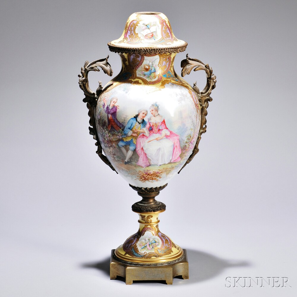 Yellow-ground Sevres-style Bronze-mounted Vase and Cover