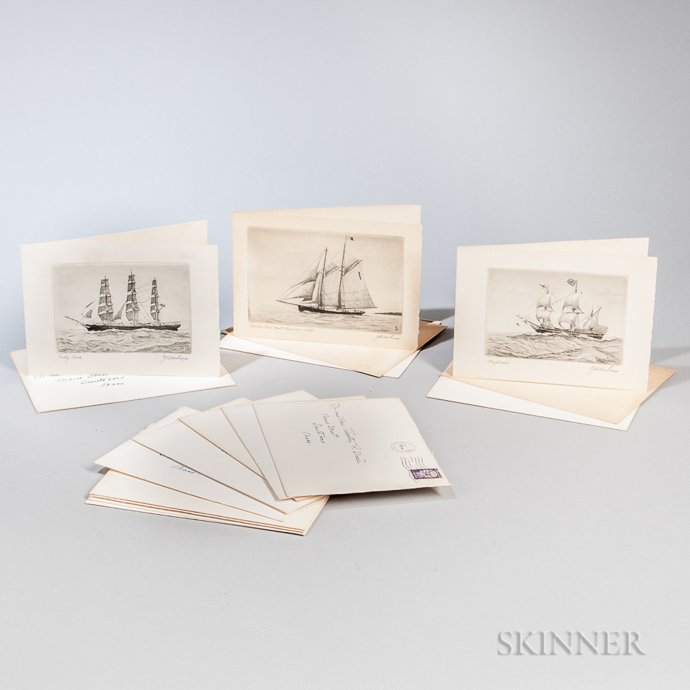 Twelve Charles J.A. Wilson Ship Portrait Holiday Cards