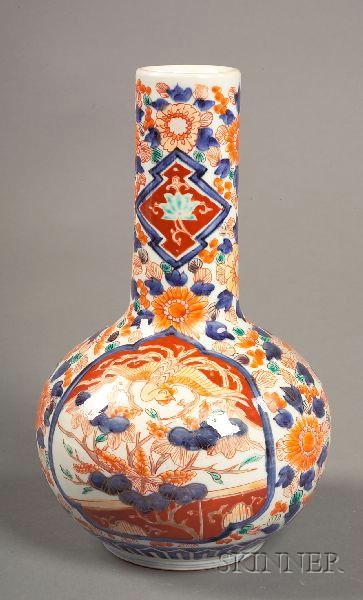 Japanese Imari Porcelain Bottle Vase