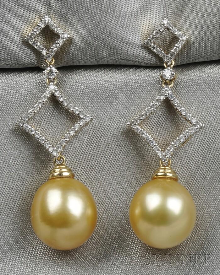 14kt Gold, Golden Pearl, and Diamond Earpendants