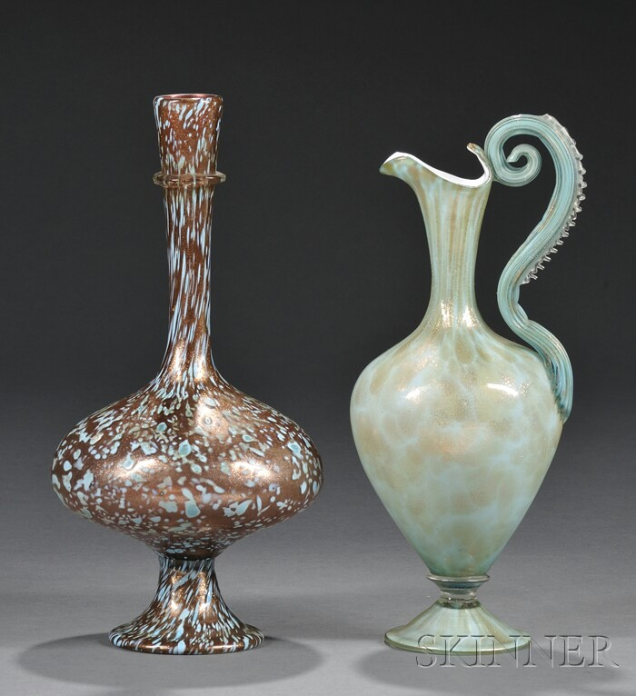 Venetian Glass Ewer  and Vase