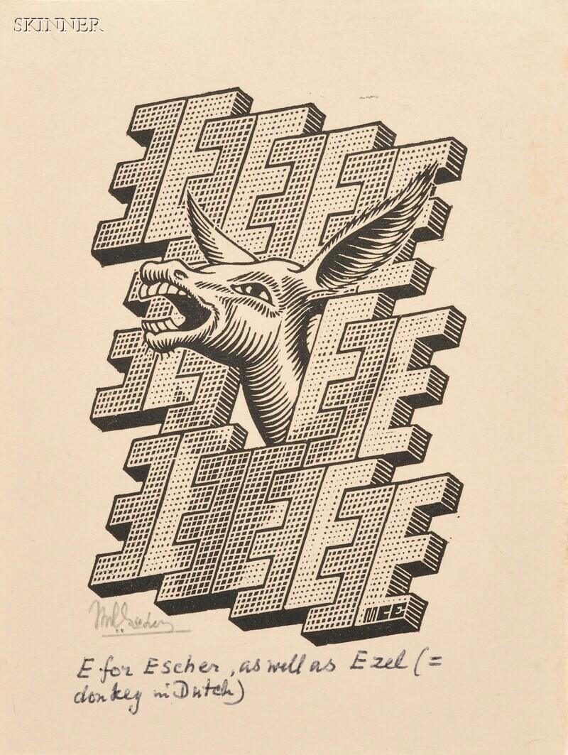 M. C. Escher (Dutch, 1898-1972)      Two Alphabet Images:  E is een Ezel