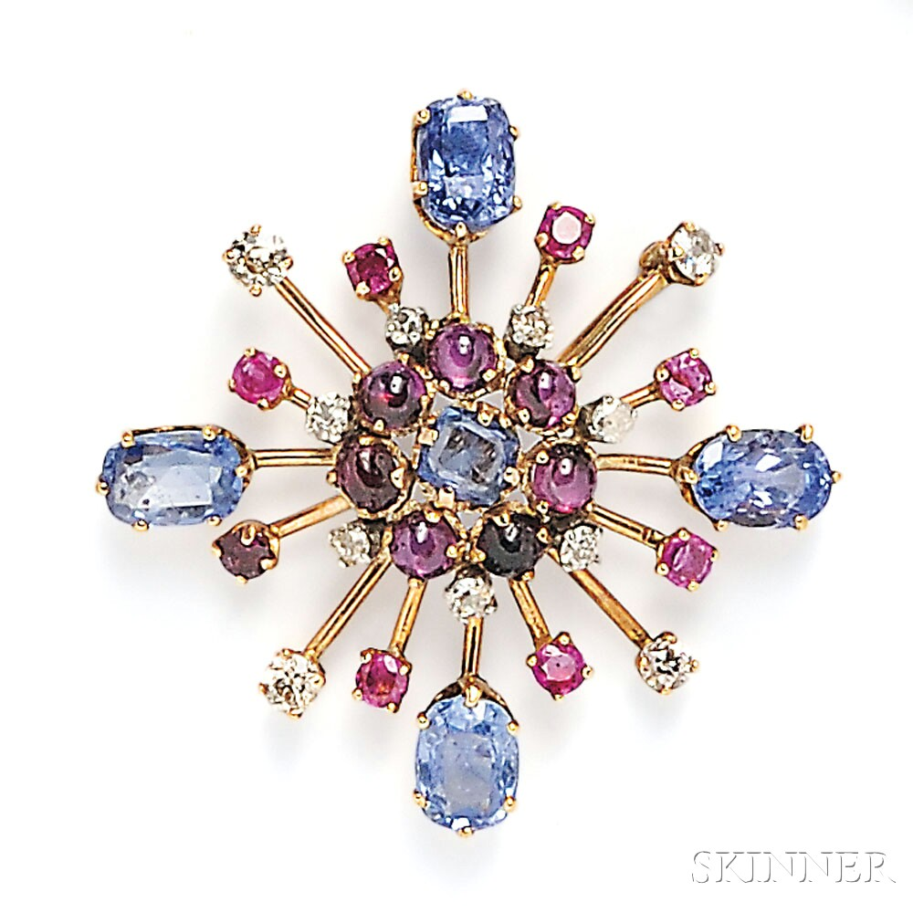 14kt Gold, Sapphire, Ruby, and Diamond Brooch