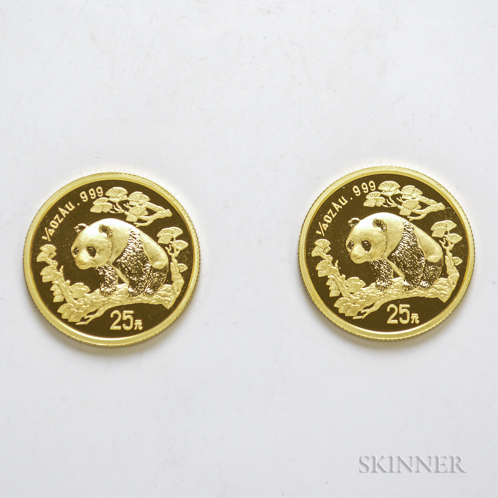 Two 1997 Chinese 25 Yuan Large Date Gold Pandas.