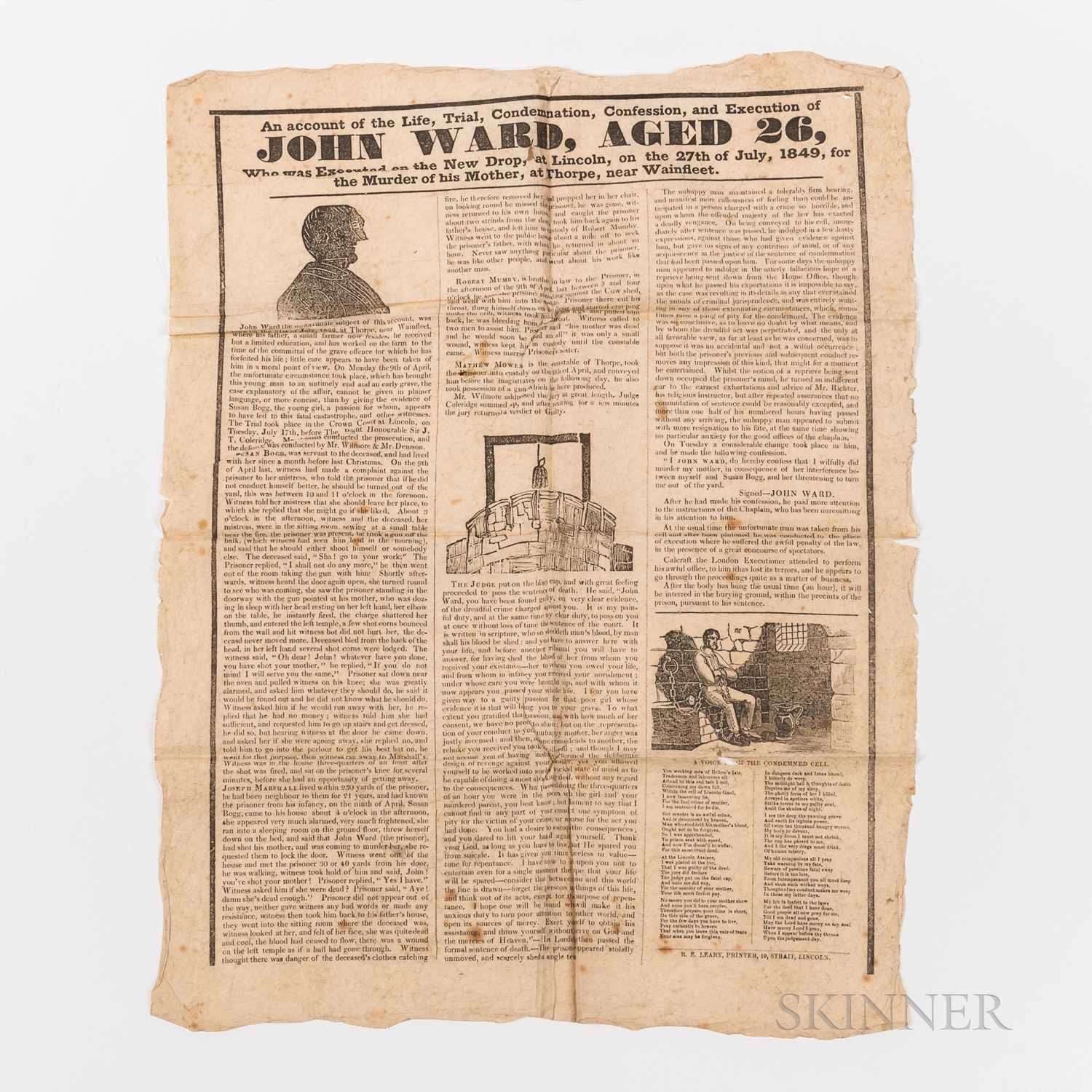 Printed Broadside, An Account of the Life, Trial, Condemnation, Confession, and Execution of John Ward, Aged 26, Who was Executed on th