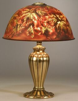 Painted Art Glass Shade and Gilt-metal Table Lamp