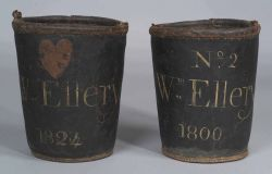 Two Painted Leather Fire Buckets