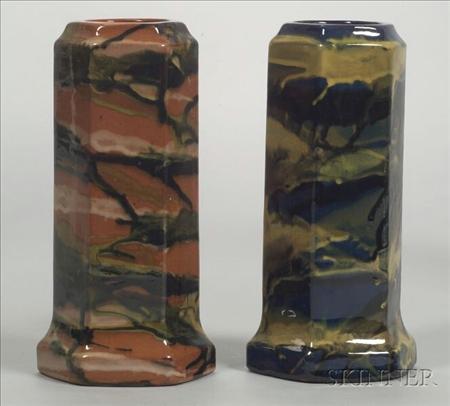 Two Shadowware Hexagonal Vases
