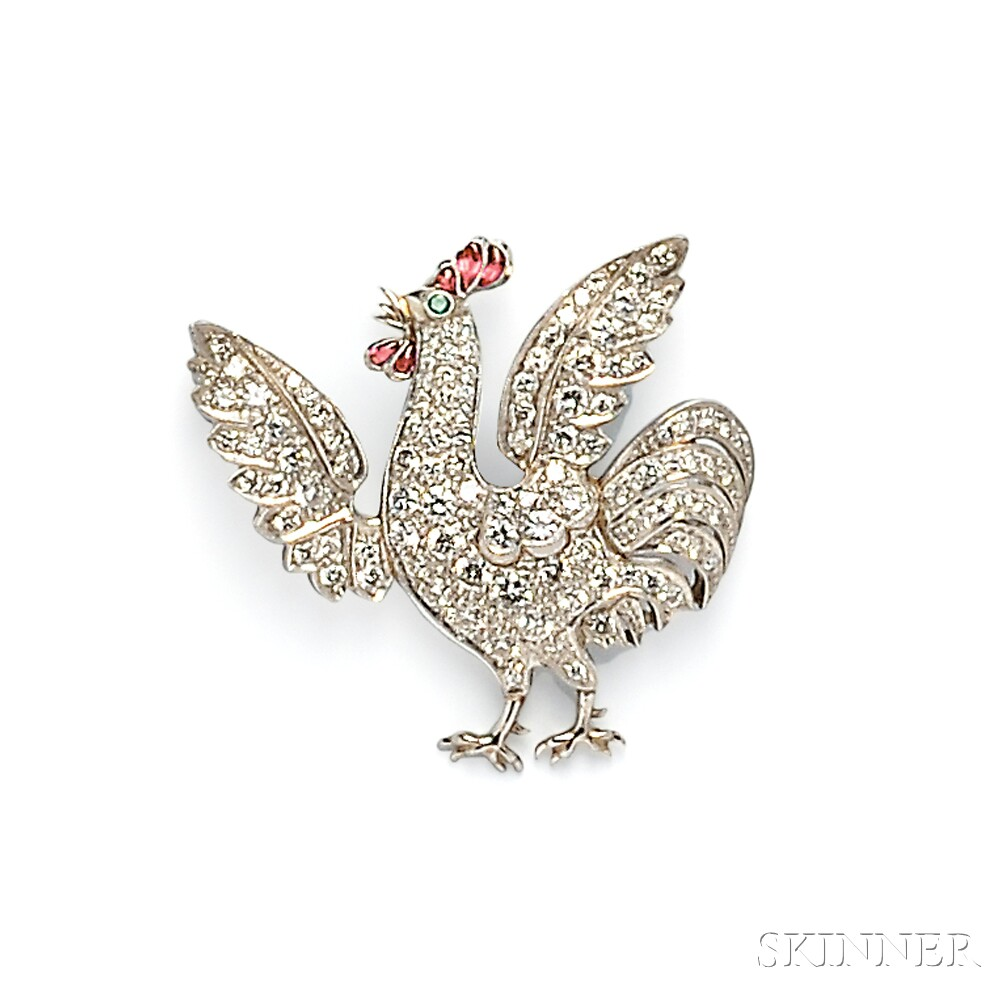 Platinum and Diamond Rooster Brooch
