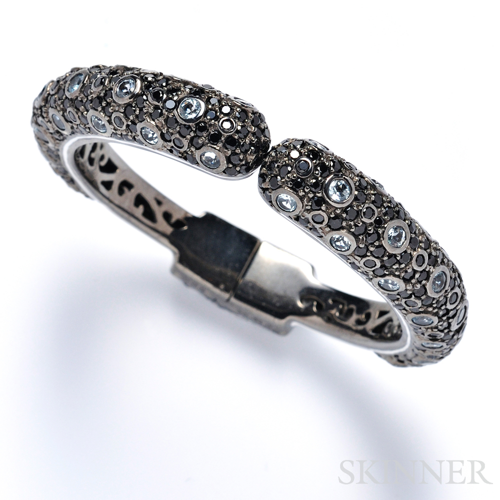 Sterling Silver, Blue Topaz, and Black Sapphire Bracelet, Matthew Campbell Laurenza