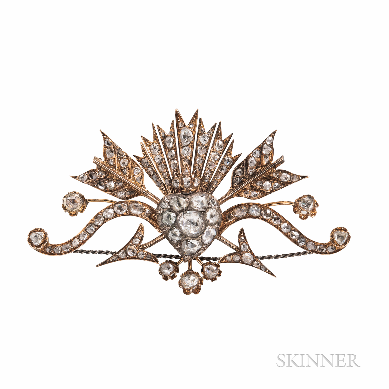 Rose-cut Diamond Sentimental Brooch