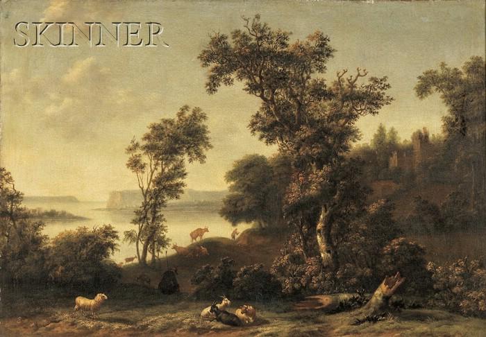 Cornelis Cornelisz Tartarius (German, fl. 1657-1684) A Coastal Landscape with a Drover Attending his Animals Before a Ruined Church ...