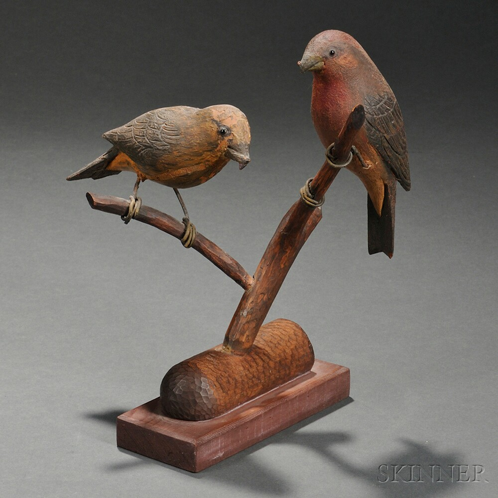 Pair of Carved and Painted Crossbill Figures on Branch