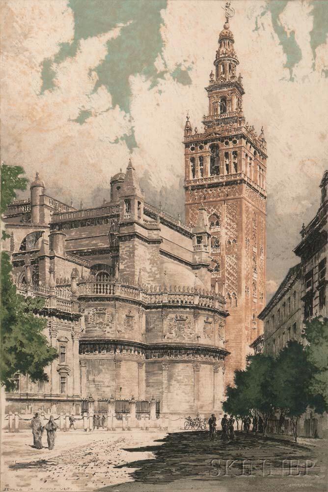 Rudolf Veit (German, 1892-1979)      Two Spanish Architectural Views: Sevilla