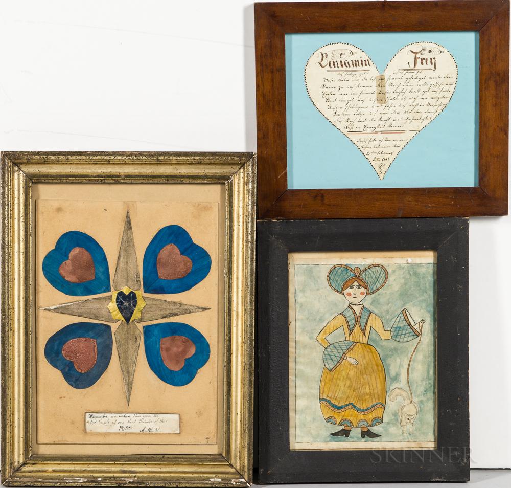 Three Folk Art Watercolors