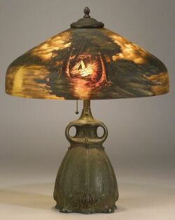 Pittsburgh Reverse-Painted Table Lamp