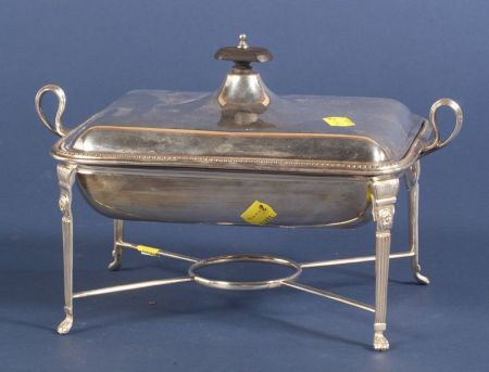 Edward VII Silver Chafing Entree Dish on Plated Stand