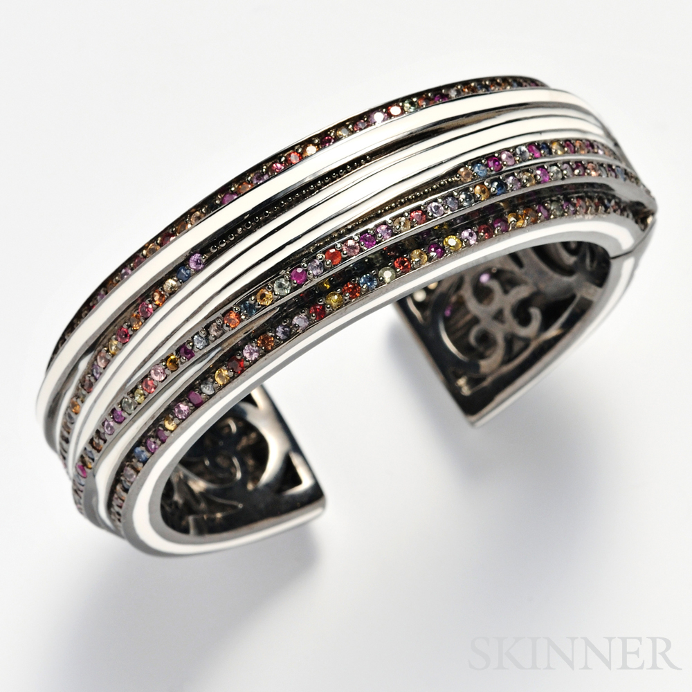 Sterling Silver, Fancy Color Sapphire, and Enamel Bracelet, Matthew Campbell   Laurenza