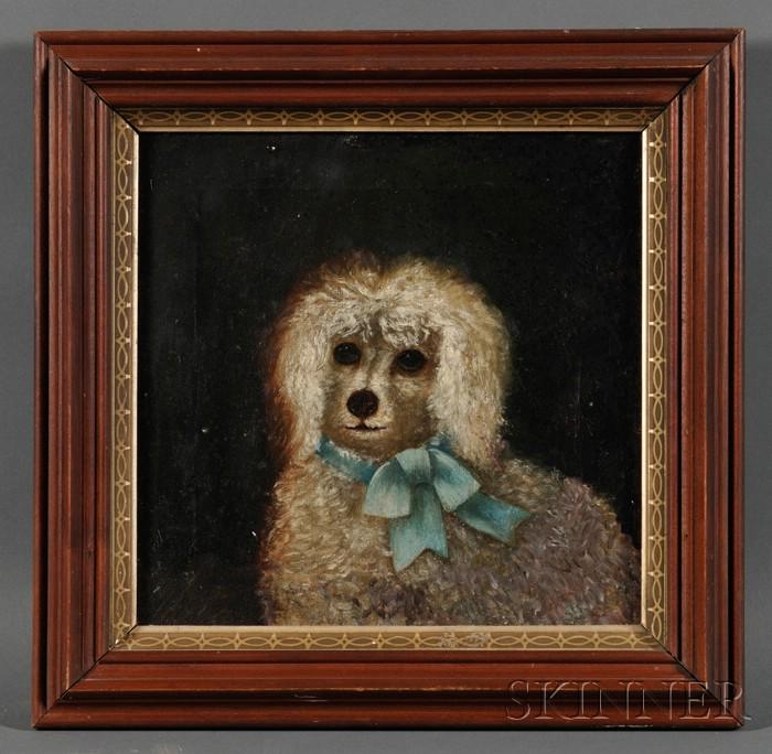 American School, 19th Century      Portrait of a Pet Poodle Wearing a Blue Ribbon.