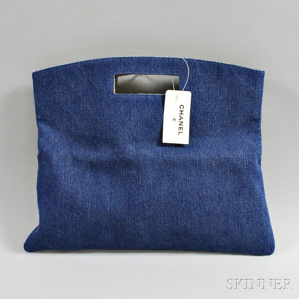 Chanel Blue Denim Folding Clutch