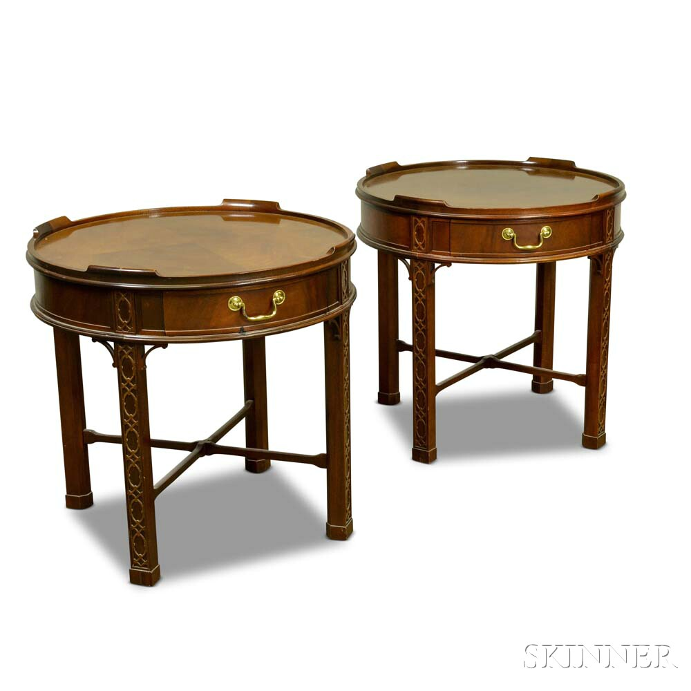 Pair of Baker Chinese Chippendale-style Carved Mahogany Tables