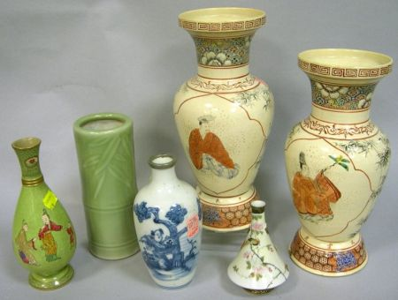 Six Japanese and Chinese Decorated Ceramic Vases