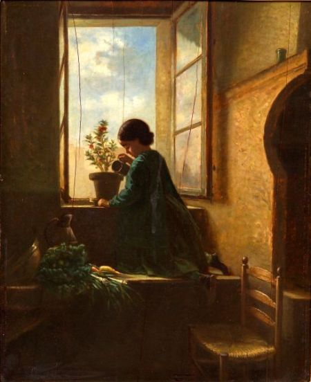 Pauline Caron Langlois (French, 19th Century)    The Little Gardener
