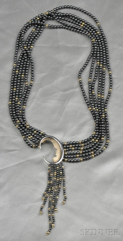 """14kt Gold, Sterling Silver, and Hematite """"Nocturne"""" Necklace/Brooch, Erte"""