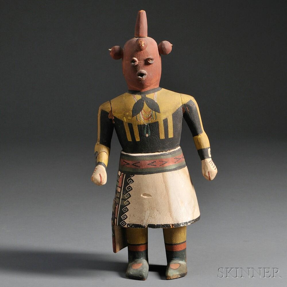 Hopi Polychrome Carved Wood Mudhead Kachina