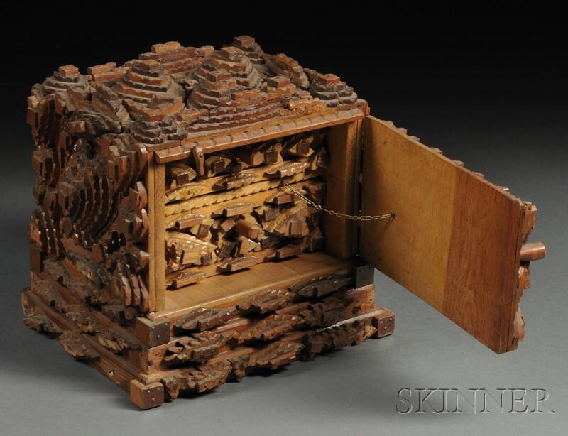Chip carved tramp art box sale number b lot