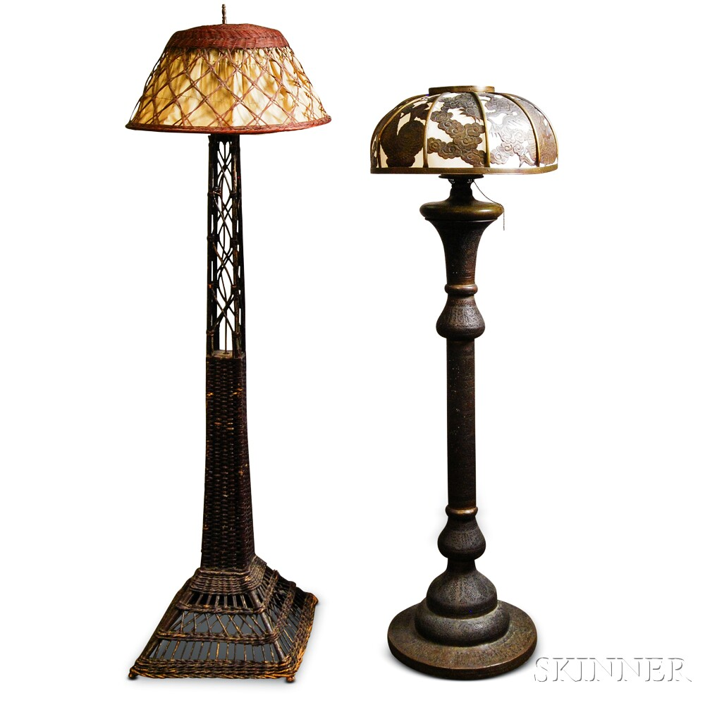 Persian Pierced Brass Floor Lamp And A Wicker Floor Lamp