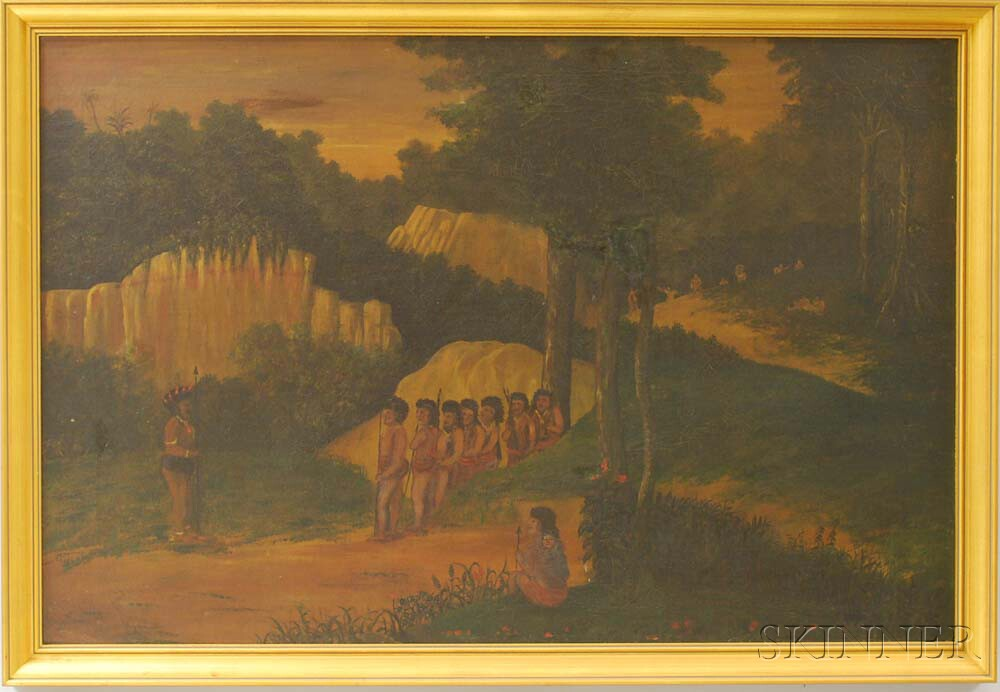 American School, 19th/20th Century       Native American Hunting Party Scene.