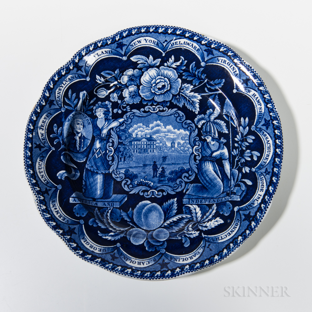 Staffordshire Historical Blue Transfer-decorated States Plate