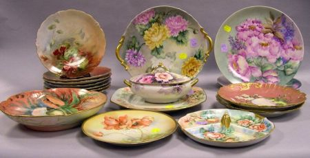 Approximately Eighteen Handpainted  Porcelain Table Articles