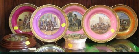 Ten Prattware Plates, a Pomade Jar, and Framed Jar Lid