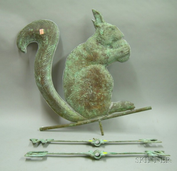 Patinated Molded Copper Squirrel with a Nut Weather Vane