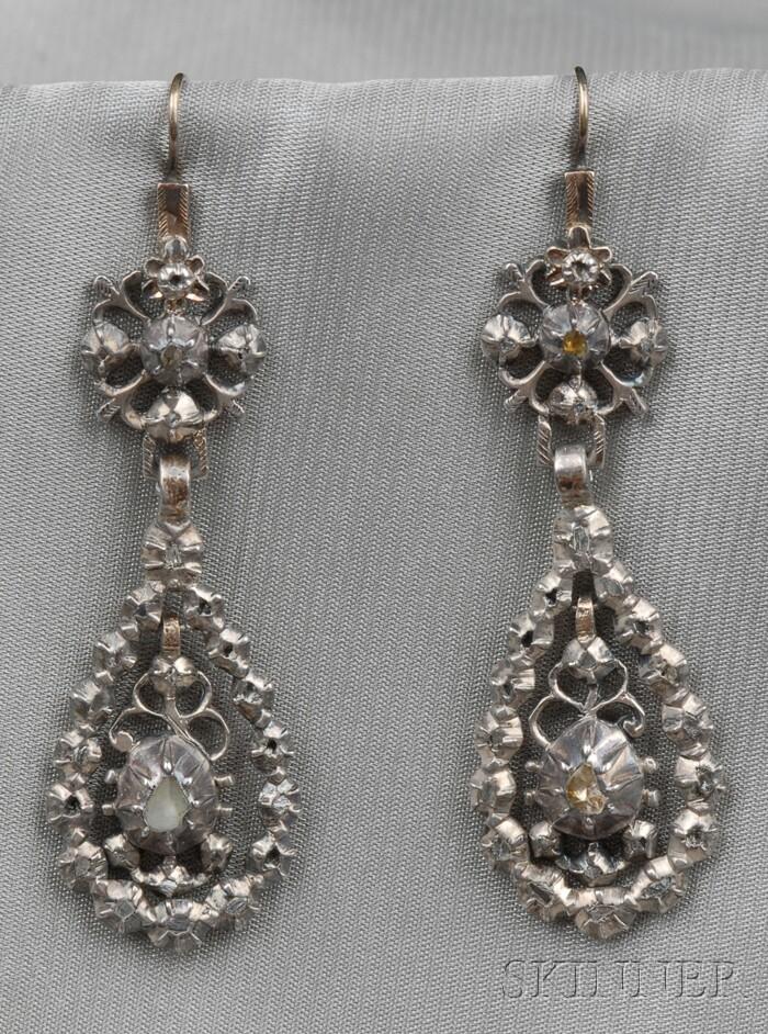 Antique Silver and Rose-cut Diamond Earpendants