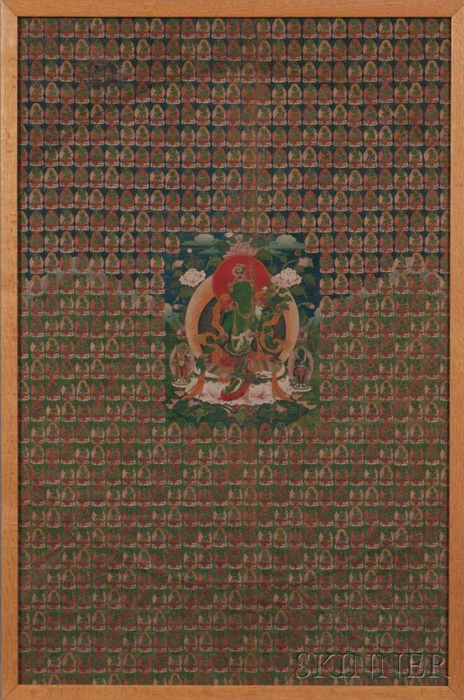 Thangka Depicting Green Tara with Her Manifestations