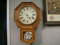 New Haven Pressed Oak Regulator Wall Clock.