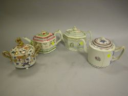 Three Chinese Export Porcelain and English Pearlware Teapots and Covered Sugar.