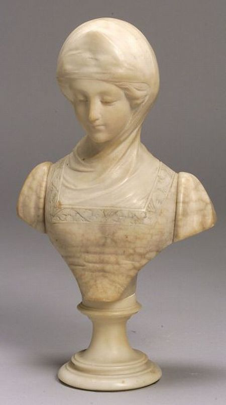 Small Italian Alabaster Bust of Beatrice