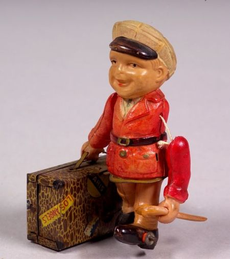 """Wind-up Celluloid """"Traveling Salesman"""" Doll"""