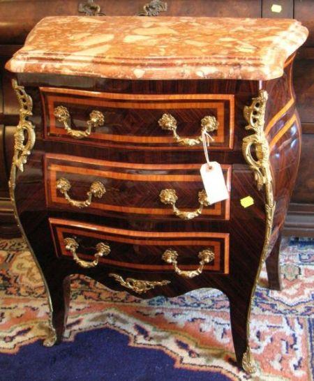 Diminutive Louis XV Style Marble-top Gilt-metal Mounted Kingwood and Tulipwood Veneer Three-Drawer Chest
