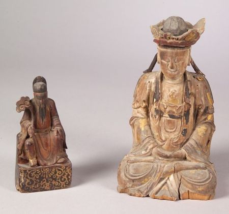 Two Carved Wooden Images
