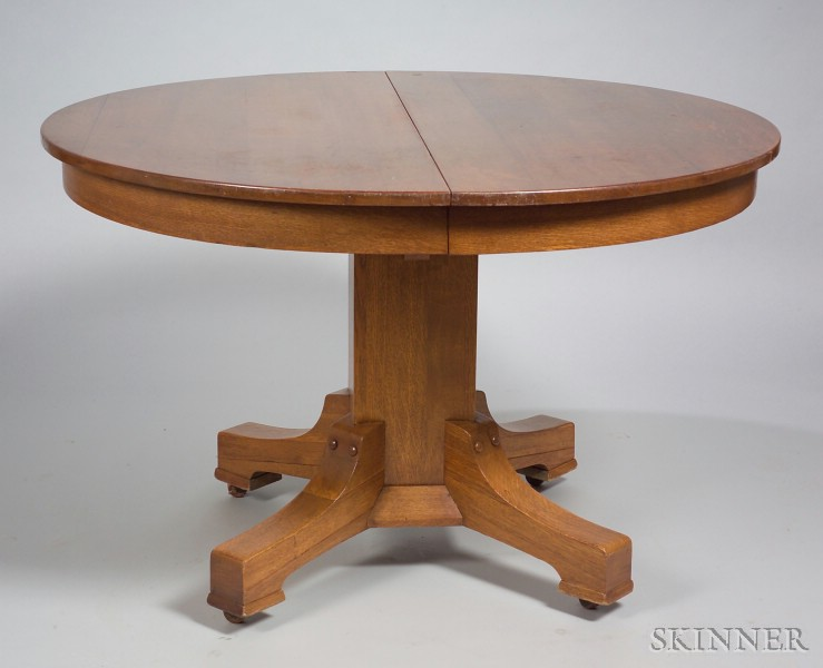 Stickley Brothers Round Oak Dining Table