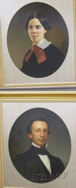 Two Framed 19th Century Style Mixed-Media Portraits of a Gentleman and a Lady
