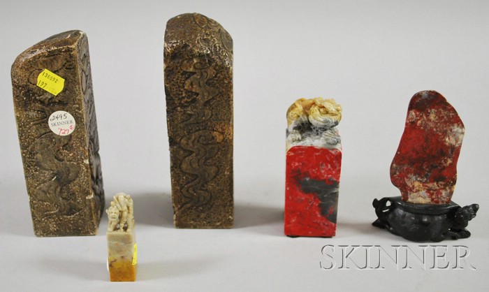 Four Asian Carved Stone Seals and a Scholar's Stone in Figural Base