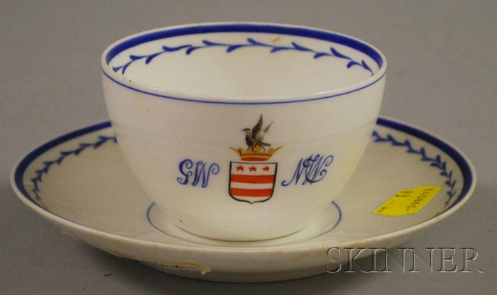 Continental Hand-painted GW/MW Armorial Porcelain Cup and Saucer.