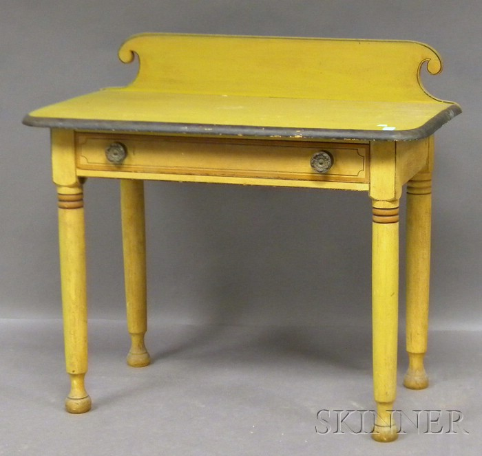 Polychrome Paint-decorated Pine Dressing Table with Long Drawer
